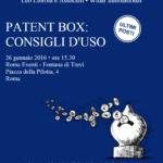 Patent box: consigli d'uso 26 gennaio Roma
